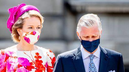 Los reyes Felipe y Matilde de Bélgica, en el día nacional del país, en julio de 2020.