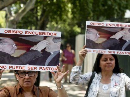 Manifestación en Chile durante la visita del Papa en 2018.