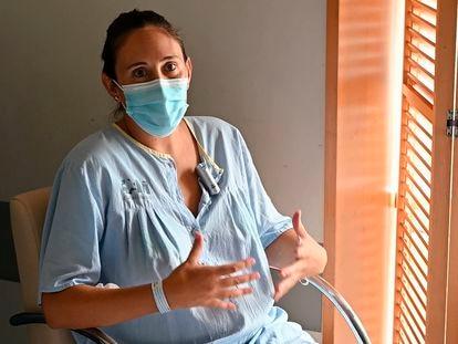 María Reina, una embarazada que tuvo que ingresar en la UCI del Gregorio Marañón, en Madrid, el 30 de agosto de 2021.