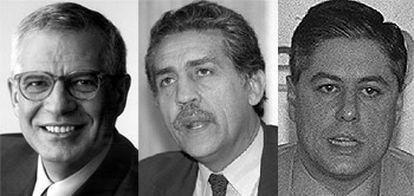 De izquierda a derecha, José Borrell, Diego López Garrido y Carlos Carnero.