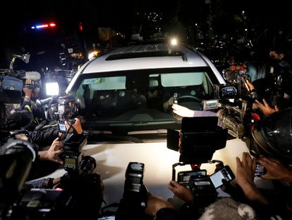 Un convoy que transportaba a Emilio Lozoya desde el aeropuerto de la Ciudad de México.
