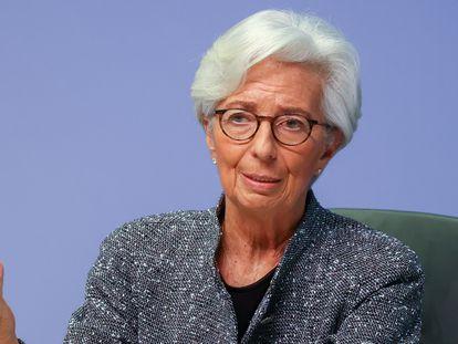 La presidente del BCE, Christine Lagarde, en una rueda de prensa el 12 de marzo en Fráncfort.