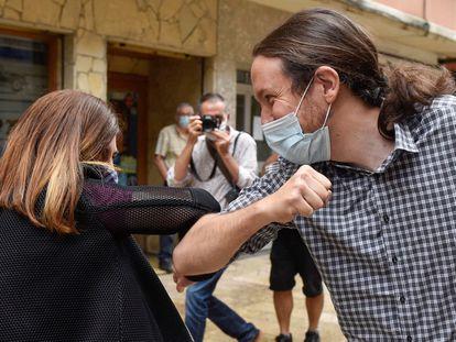 Pablo Iglesias, líder de Podemos, durante un acto de campaña en las pasadas elecciones vascas.