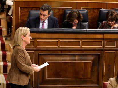 La diputada de Coalición Canarias, Ana Oramas, tras su intervención en la primera sesión del debate de investidura.