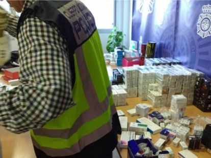Productos dopantes intervenidos por la Policía Nacional.