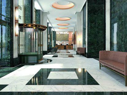 Recreación de la entrada del nuevo hotel Riu en el Edificio España.