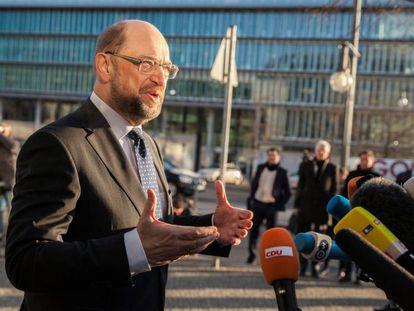 El líder socialdemócrata, Martin Schulz, en una declaración a la prensa este martes en Berlín.