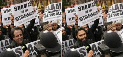 Montaje tuiteado en febrero por el líder antimusulmán Geert Wilders que sitúa a un rival político, Alexander Pechtold, en una manifestación en la que se pide la imposición de la ley islámica en Holanda. A la derecha, la foto real, sin manipular.