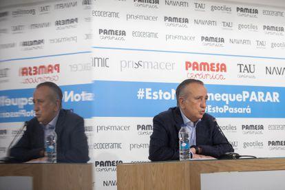 El Presidente del Grupo Pamesa, Fernando Roig, durante la rueda de prensa en la que ha explicado las pruebas y los protocolos de trabajo y seguridad por el Covid 19 que se aplican en el grupo en la vuelta a la actividad.
