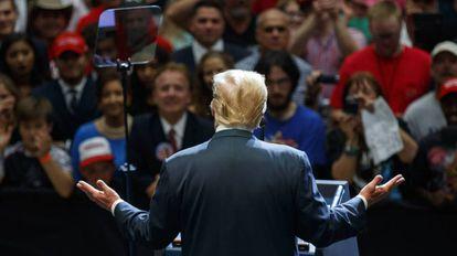 President Donald Trump, en un mitin en Indiana.