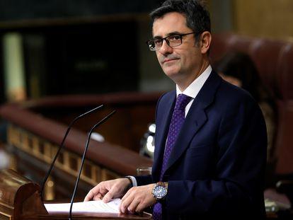 El ministro de la Presidencia, Félix Bolaños García, este jueves en el Congreso de los Diputados.