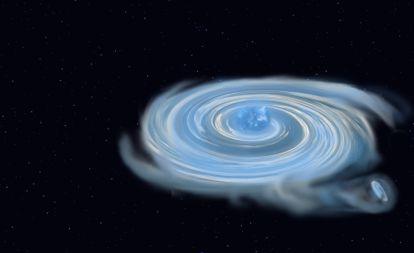 Representación artística de un sistema de estrellas binarias.