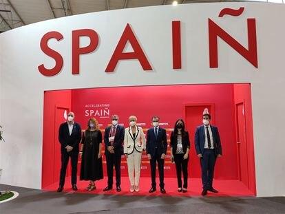 La secretaria de Estado de Digitalización e Inteligencia Artificial, Carme Artigas, en el stand de España en el Mobile World Congress.