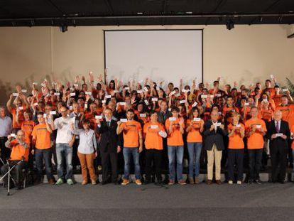 Participantes en la iniciativa que impulsa la plataforma Gure Esku Dago.