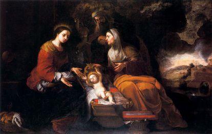 'La sagrada familia', pintura de Sebastián Gómez, 'el mulato de Murillo'.