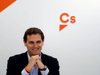 Albert Rivera, en la sede de Ciudadanos en Madrid.