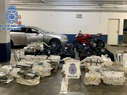 La cocaína incautada por la Policía Nacional en un garaje del centro de la ciudad de Huelva