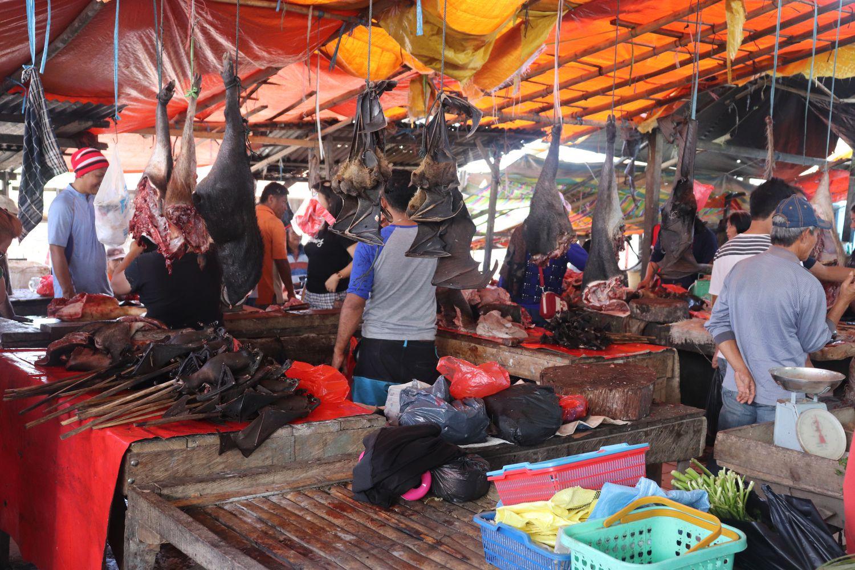 Murciélagos despiezados a la venta en un mercado en Indonesia. Universidad de California Davis.