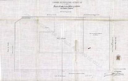 Plano de la planta de las cocheras firmada en su parte inferior derecha por el arquitecto Antonio Palacios.