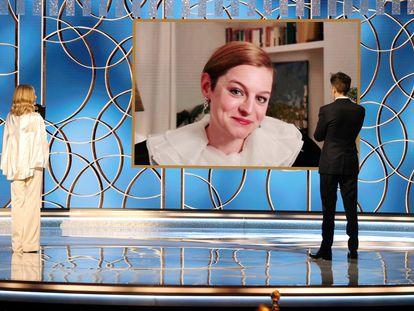 Emma Corrin, durante su discurso de agradecimiento del premio a la mejor actriz protagonista de una serie dramática por 'The Crown', el 1 de marzo de 2021.
