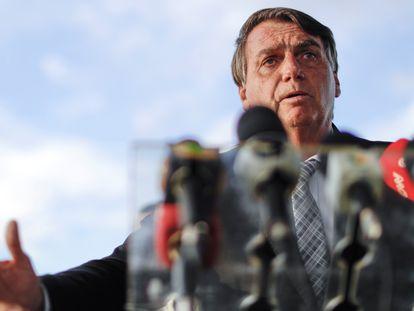 Jair Bolsonaro, presidente de Brasil, durante una conferencia de prensa en Brasilia, el pasado 10 de marzo.