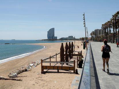 Vista de la playa de Barcelona este miércoles 6 de mayo.