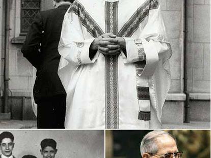 En la fotografía superior, Adolfo Nicolás el día de su ordenación sacerdotal, en 1967. Abajo, foto familiar de 1948, con él en la fila de atras, a la derecha. En la otra imagen, convertido ya en superior general de los jesuitas.