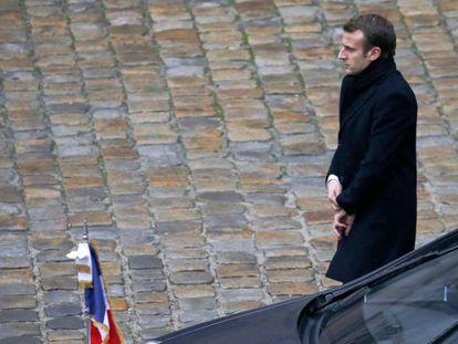 El presidente Macron, el lunes en París