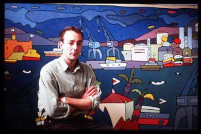 El pintor coruñés Joge Peteiro, frente a una de sus obras.