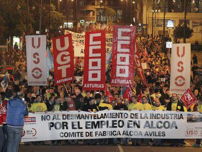 Manifestación contra el cierre de Alcoa en Avilés.