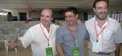De izquierda a derecha, Gaspar Zarrías, Francisco Reyes y Felipe López, este jueves en Jaén.