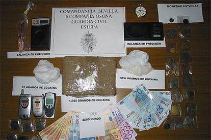 Cocaína decomisada por la Guardia Civil.