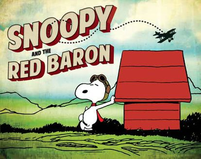 Poster announcing the exhibition about Snoopy and the Red Baron.