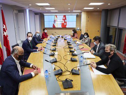 Reunión del Grupo Covid-19 el pasado martes en la sede de la Vicepresidencia de la Comunidad de Madrid.