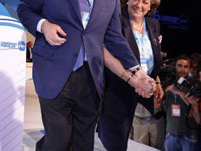 Mariano Rajoy y Rita Barberá en el congreso del PP de 2008 en Paterna.
