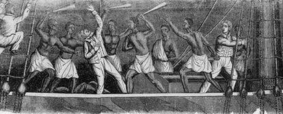 La ilustración muestra a esclavos africanos matando al capitán Ferrer después de  tomar el control del buque español<i>Amistad,</i>  en 1839.