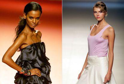 A la izquierda, una modelo en la pasarela de 2004. A la derecha, una maniquí en el desfile de 2006.
