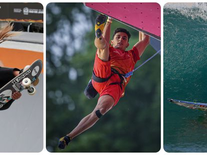 La 'skater' Sky Brown del Reino Unidoç, el escalador extremeño Alberto Ginés y el surfista brasileño Gabriel Medina.