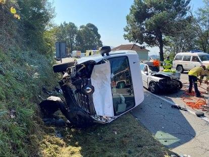Accidente múltiple en una carretera de Pontevedra el pasado octubre.