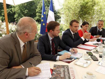 Imagen de la entrevista al presidente francés, Emmanuel Macron.