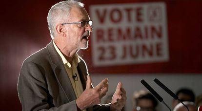 El líder laborista, Jeremy Corbyn, este martes en Manchester.