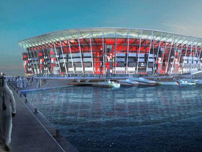 Gráfico del proyecto de estadio de Ras Abu Aboud, en Doha.
