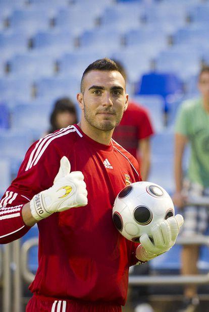 Roberto, en su presentación como nuevo portero del Zaragoza.
