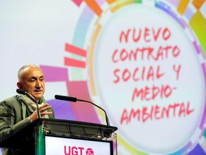 El secretario general de UGT, Pepe Álvarez, durante su intervención en el 43 Congreso Confederal de UGT, que se celebra este martes en Valencia.