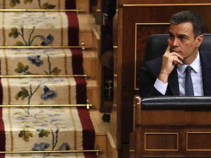 Pedro Sánchez, este martes, en el Congreso de los Diputados.