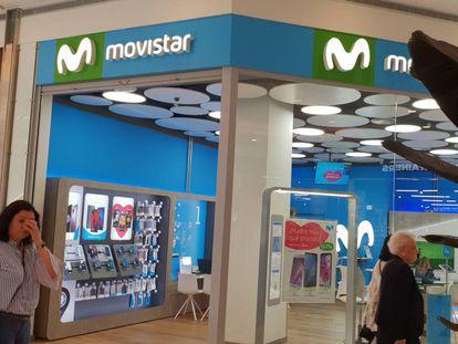 Una tienda de Movistar, en Madrid.