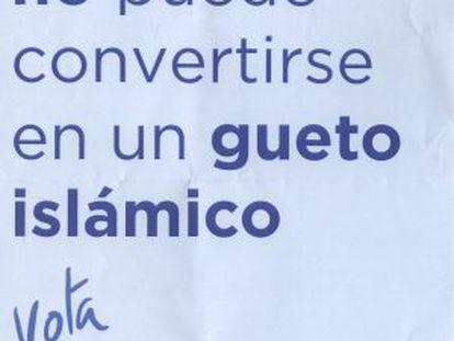 Propaganda enviada por el PP de Barcelona en el barrio del Raval.