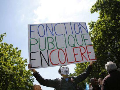 Protesta de los empleados públicos en París.