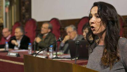 La actriz Txe Arana en el acto de presentación del manifiesto en defensa del catalán.