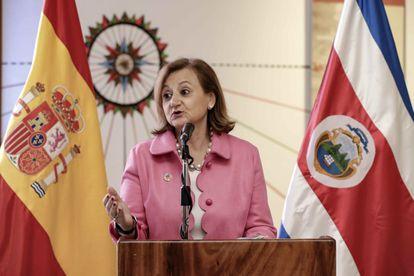 La secretaria de Estado de Asuntos Exteriores y para Iberoamérica y el Caribe, Cristina Gallach, el pasado viernes durante su visita a Costa Rica.